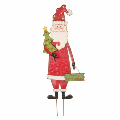 Glitzhome Metal Santa Yard Stake Decor Perspective: front