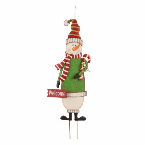 Glitzhome Metal Snowman Holiday Decor Perspective: front