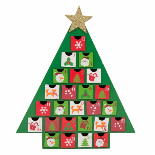 Glitzhome Wooden Christmas Tree Advent Calendar with Drawers Perspective: front