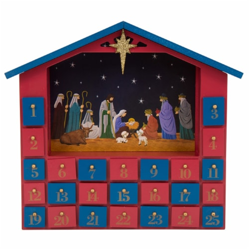 Glitzhome Wooden House Nativity Advent Calendar - Red/Blue Perspective: front