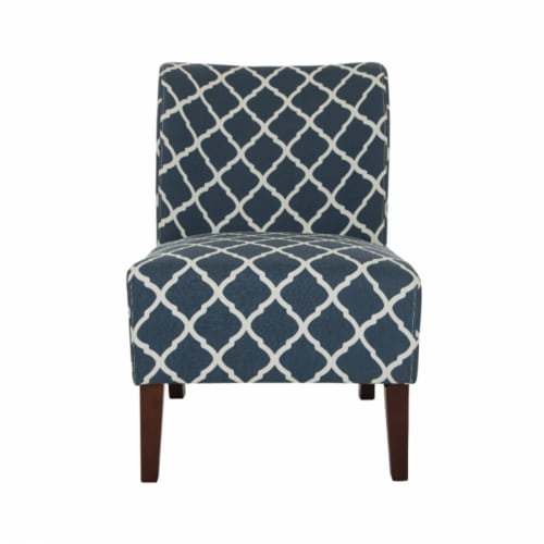 Glitzhome Lattice Upholstered Accent Chair with Sturdy Hardwood Frame - Indigo Perspective: front