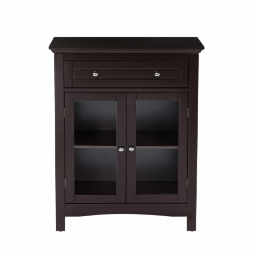 Glitzhome Shelved Floor Cabinet with Double Doors - Espresso Perspective: front