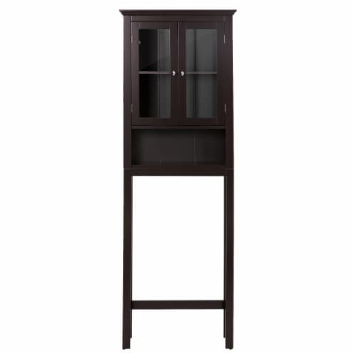 Glitzhome Wooden Drop Door Bathroom Cabinet Spacesaver - Espresso Perspective: front
