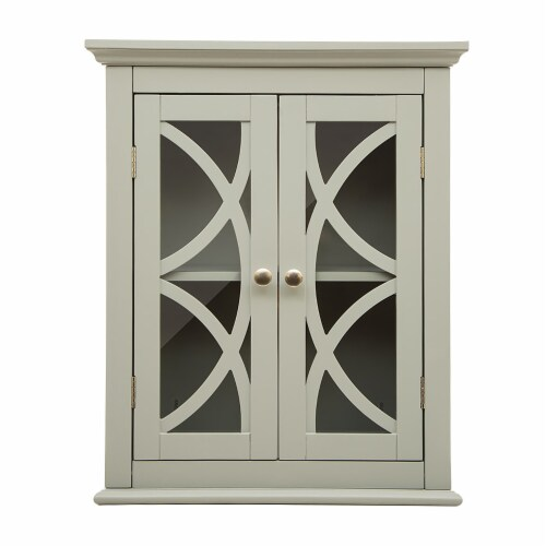 Glitzhome Wooden Wall Cabinet with Double Doors - Gray Perspective: front