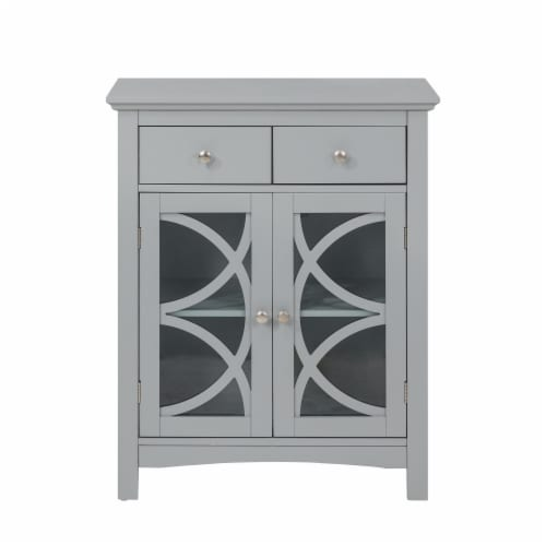 Glitzhome Floor Cabinet with Double Doors and Drawer - Gray Perspective: front