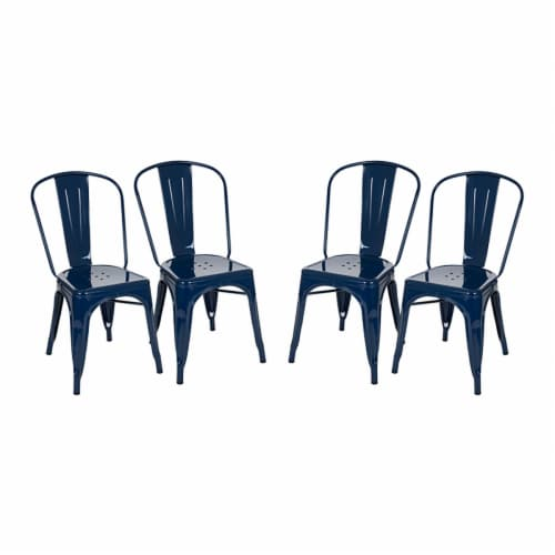 Glitzhome Rustic Metal Side Chair - Navy Blue Perspective: front