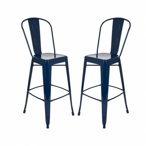 Glitzhome Industrial Style Metal Bar Stools - Set of 2 - Navy Blue Perspective: front