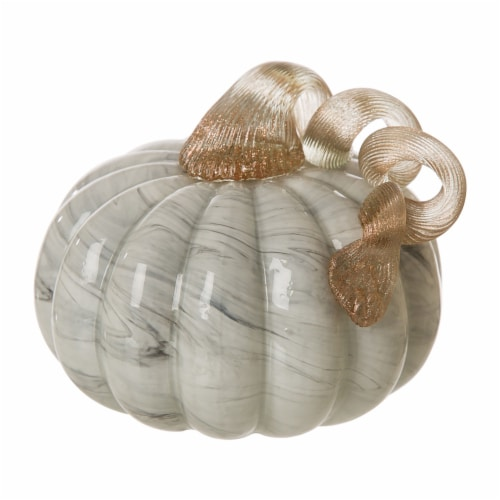 Glitzhome Marble Small Short Glass Pumpkin - Gray Perspective: front