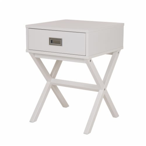 Glitzhome Modern Wooden X-Leg End Table - White Perspective: front