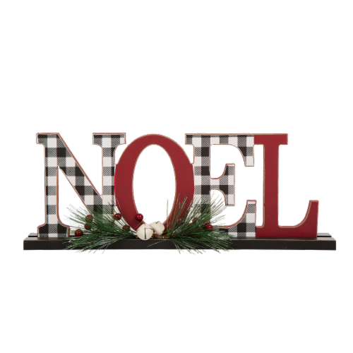 Glitzhome Wooden Plaid Noel Table Decor Features with Red Berries Perspective: front