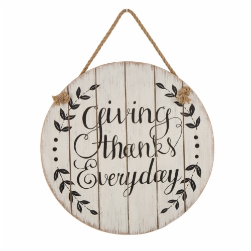 Glitzhome Wooden Round Thanksgiving Wall Sign Perspective: front