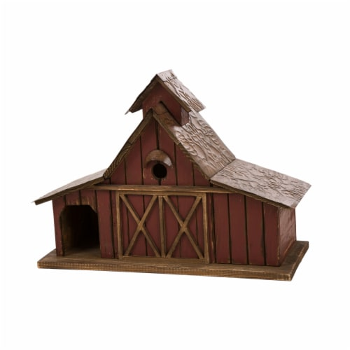 Glitzhome Extra-Large Rustic Wood Barn Birdhouse Perspective: front