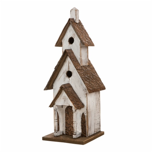 Glitzhome Extra-Large Rustic Wooden Outdoor Garden Birdhouse - White/Brown Perspective: front