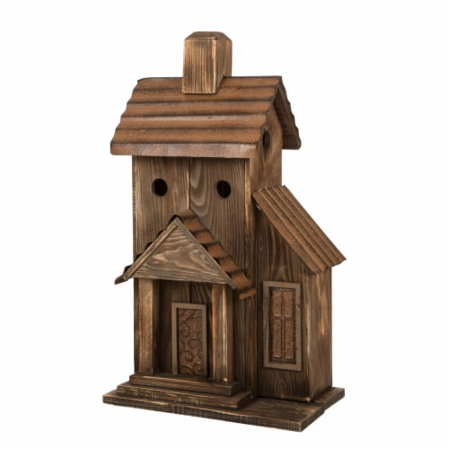Glitzhome Extra-Large Rustic Natural Wood & Metal Birdhouse Perspective: front