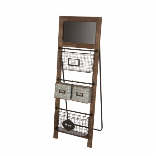 Glitzhome Farmhouse Metal/Wooden Magazine Rack Perspective: front