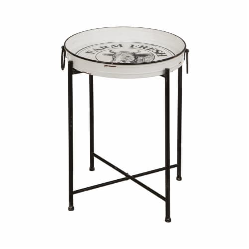 Glitzhome Farmhouse Metal Enamel Decorative Serving Table Perspective: front