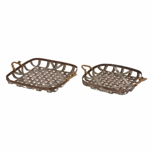 Glitzhome Galvanized Metal and Jute Rope Basket Pair Perspective: front