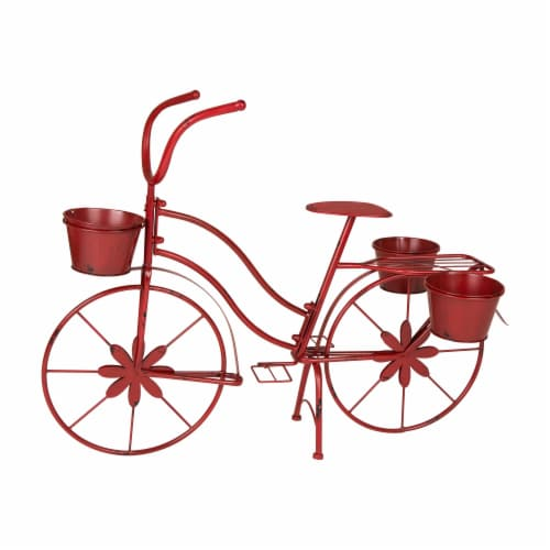 Glitzhome Metal Red Bicycle Shape Planter Perspective: front