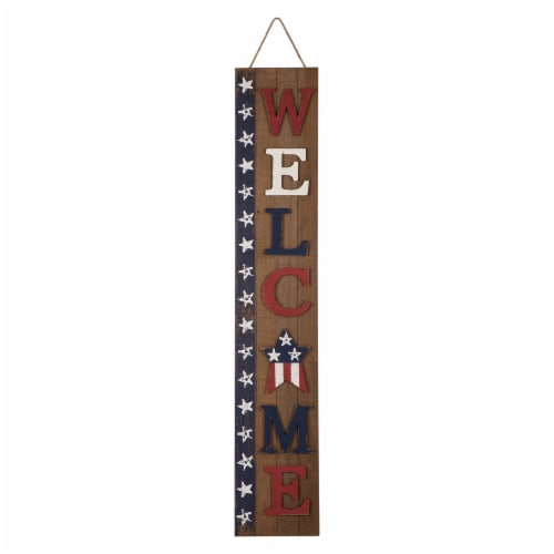 Glitzhome Wooden Patriotic Stars Welcome Porch Sign Perspective: front