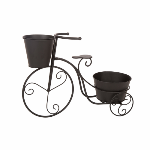 Glitzhome Metal Bicycle Shape Planter - Black Perspective: front