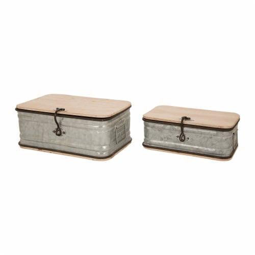 Glitzhome Rustic Farmhouse Galvanized Wood Metal Container Perspective: front