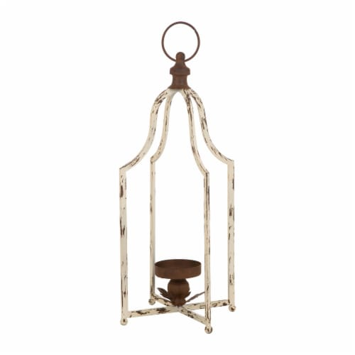 Glitzhome Large Farmhouse Metal Lantern - White Perspective: front
