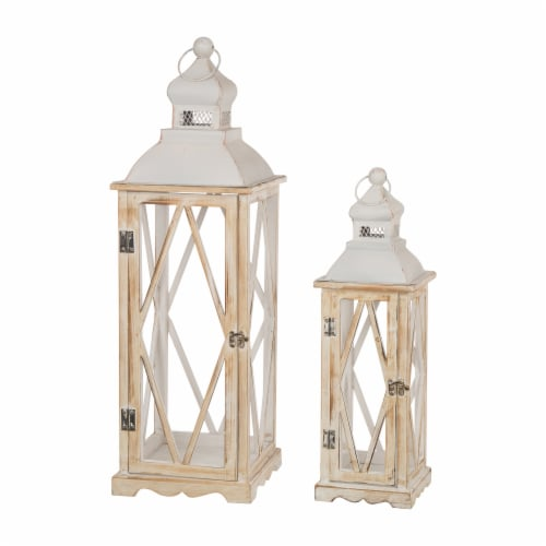 Glitzhome Farmhouse Whitewash Wood Lanterns with Metal Lids Perspective: front