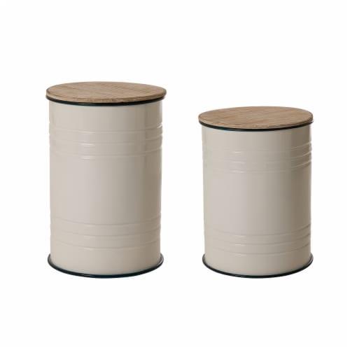 Glitzhome Farmhouse Round Metal Enamel Storage Stool - White Perspective: front