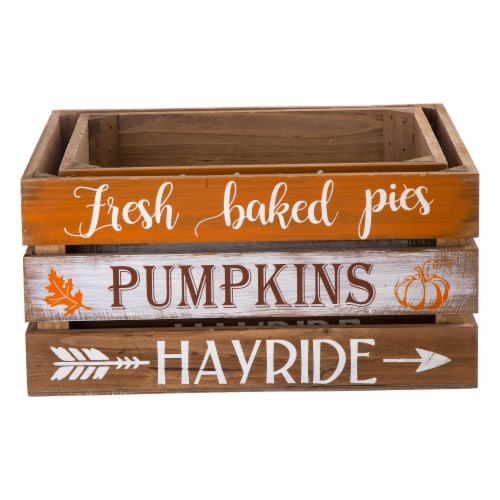 Glitzhome Wooden Pumpkin Crate - 2 Pack Perspective: front