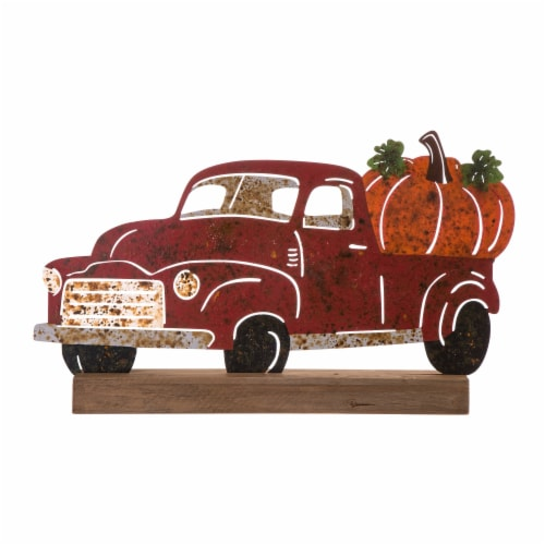 Glitzhome Wooden/Metal Rusty Truck Porch Table Decoration Perspective: front