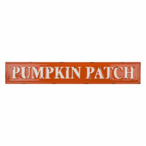 Glitzhome Enameled Metal Pumpkin Patch Wall Sign Perspective: front