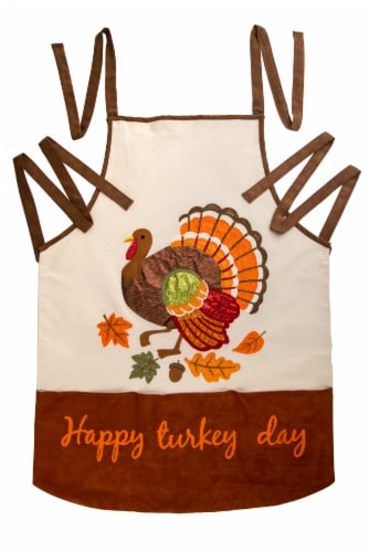 Glitzhome Cotton Embroidered Turkey Apron Perspective: front