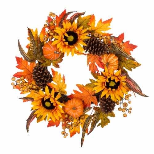 Glitzhome Sunflower Pumpkins & Pinecones Wreath Perspective: front
