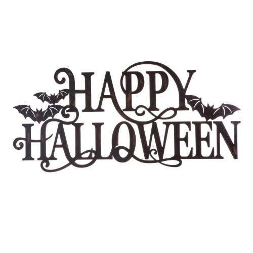 Glitzhome Metal Happy Halloween Wall Sign Perspective: front