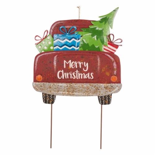 Glitzhome Rusty Metal Christmas Truck Yard Stake Decor Perspective: front