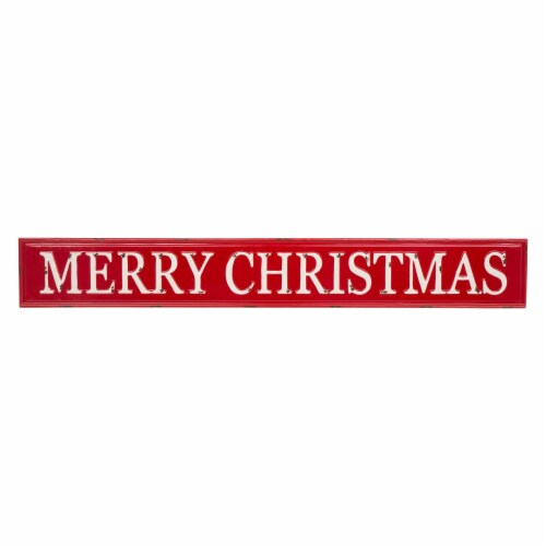 Glitzhome Enameled Metal Merry Christmas Wall Sign - Red/White Perspective: front