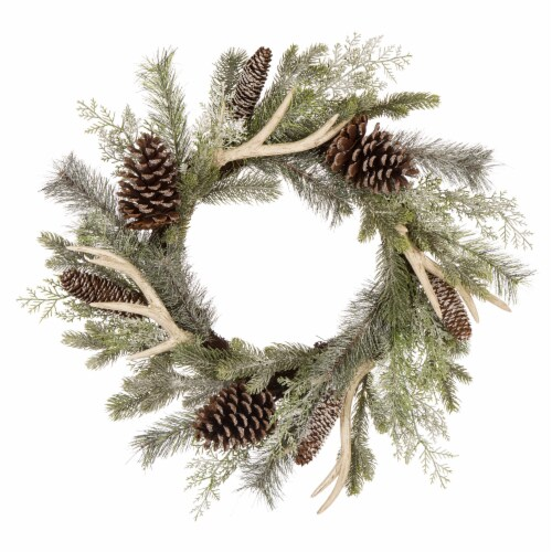 Glitzhome Flocked Pinecone & Antler Wreath - Green Perspective: front