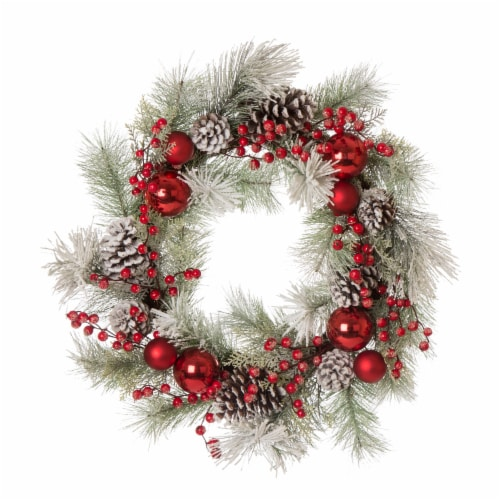 Glitzhome Flocked Pinecone and Ornament Wreath for Christmas Decor - Red Perspective: front