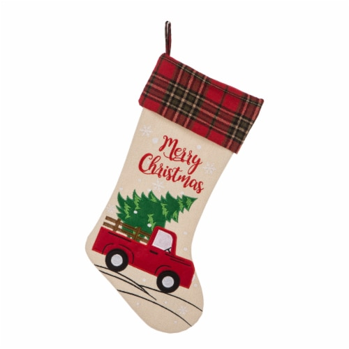 Glitzhome Embroidered Linen Red Truck Christmas Stocking Perspective: front