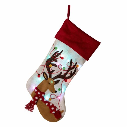 Glitzhome Embroidered Linen Reindeer Christmas Stocking Perspective: front