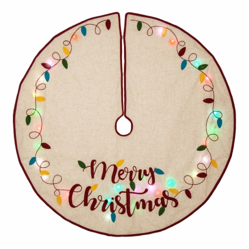 Glitzhome LED Embroidered Merry Christmas Tree Skirt - Light Brown Perspective: front