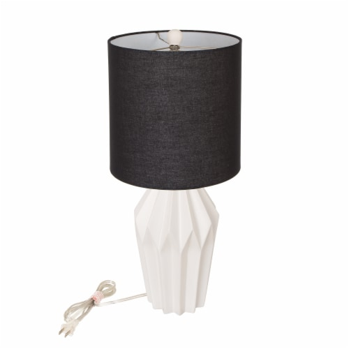 Glitzhome Matte Ceramic Table Lamp with Shade - White/Black Perspective: front