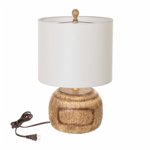 Glitzhome Rustic Farmhouse Polyresin Table Lamp with White Shade Perspective: front