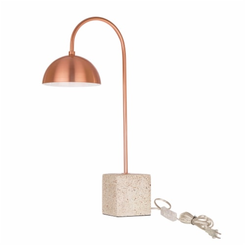 Glitzhome Farmhouse Metal and Terrazzo Table Lamp with Copper Shade Perspective: front