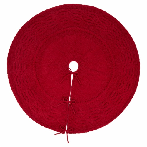 Glitzhome Knitted Polyester Farmhouses Christmas Tree Skirt - Red Perspective: front