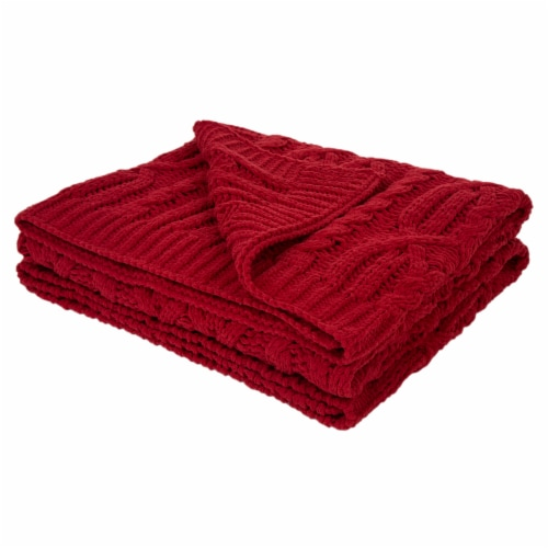 Glitzhome Knitted Chenille Fabric Throw Blanket - Red Perspective: front