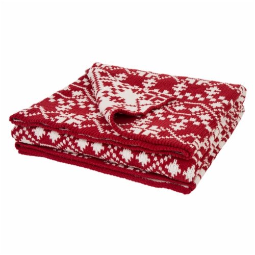 Glitzhome Knitted Snowflake Polyester Throw Blanket - Red/White Perspective: front