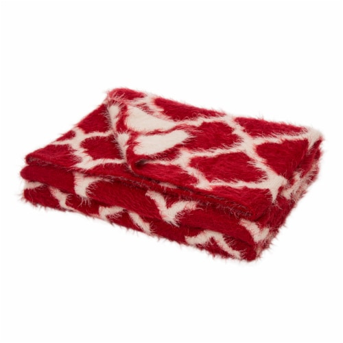 Glitzhome Reversible Knitted Nylon Eyelash Yarn Throw Blanket - Red/White Perspective: front