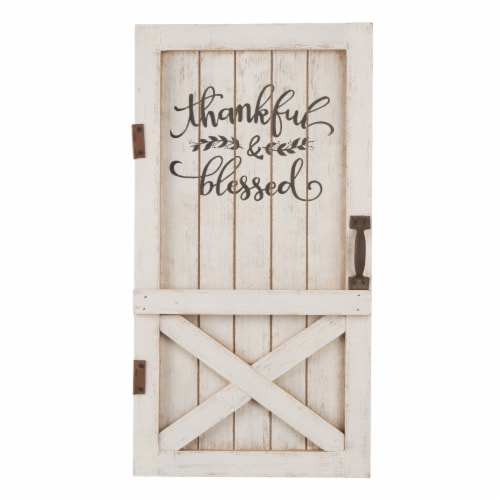 Glitzhome Wooden Thanksgiving Barn Door Wall Decor or Standing Decor Perspective: front