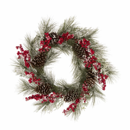 Glitzhome Flocked Pinecone and Berry Wreath for Christmas Decor - Green Perspective: front